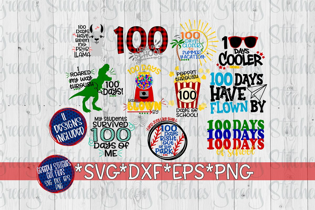 100 Days Of School Bundle SVG, DXF, EPS, PNG. example image 1