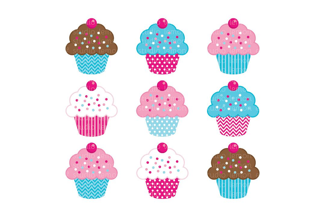 Sweet Cupcakes-Digital Clipart (LES.CL04B) example image 1