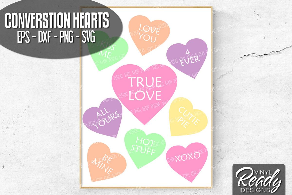 Conversation Hearts Bundle - Vector Clip Art - 9 Designs example image 1