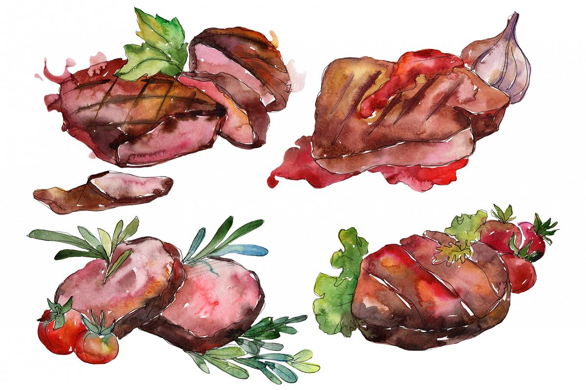 Meat steaks PNG watercolor set example image 1