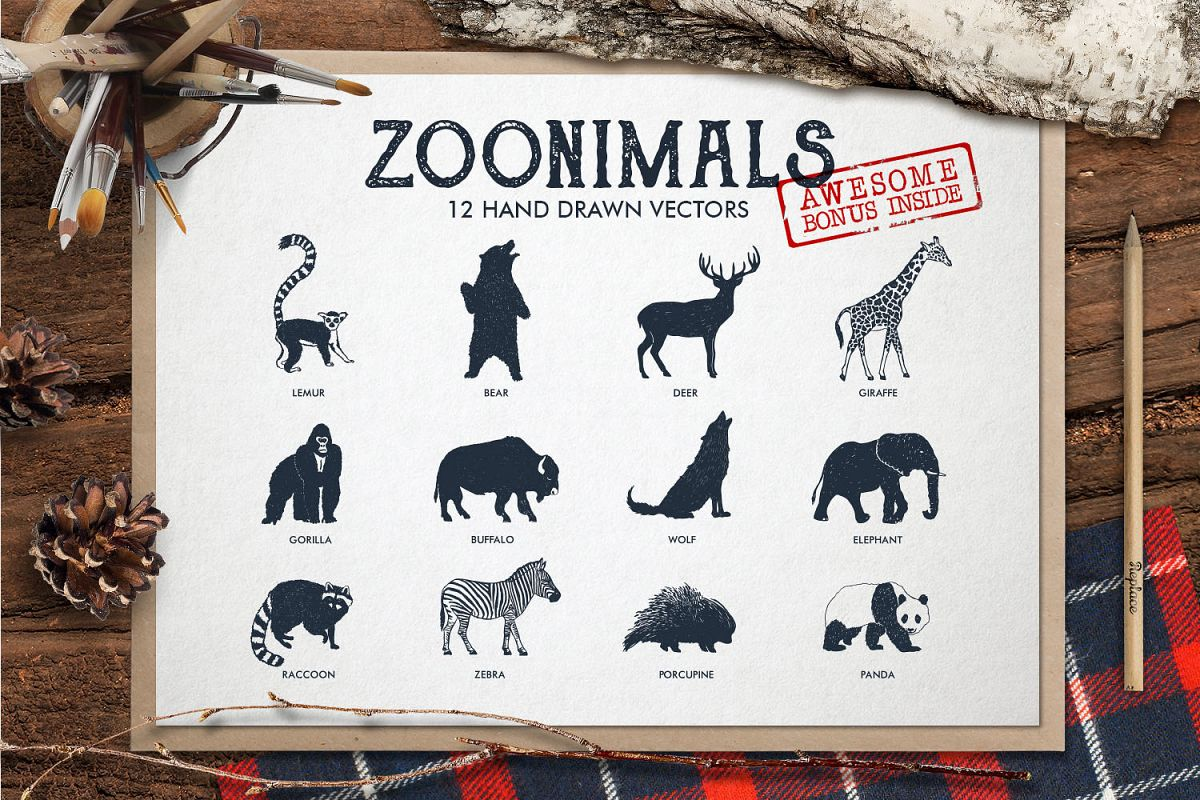 ZOONIMALS. Hand Drawn Animals example image 1