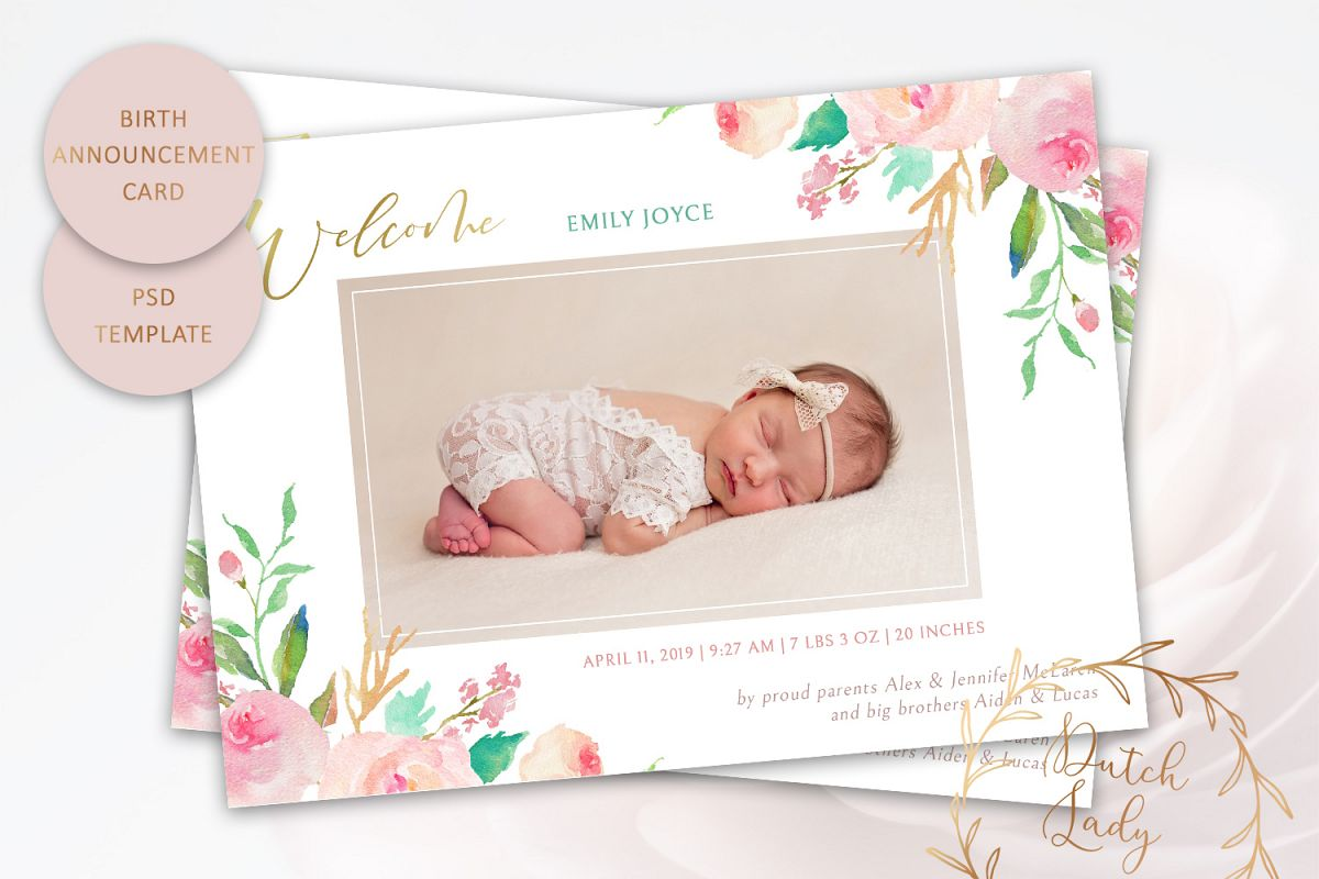 PSD Birth Announcement Card Template - Design #3 example image 1