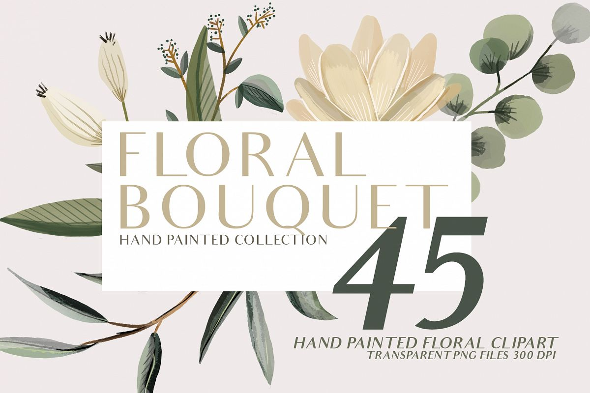 Floral Bouquet hand painted clipart example image 1