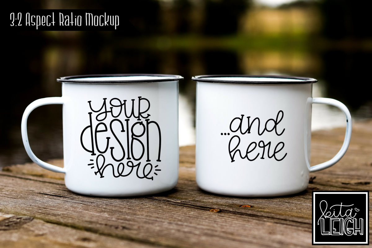 Two Pair Campfire Mugs on a Fishing Dock Mockup example image 1