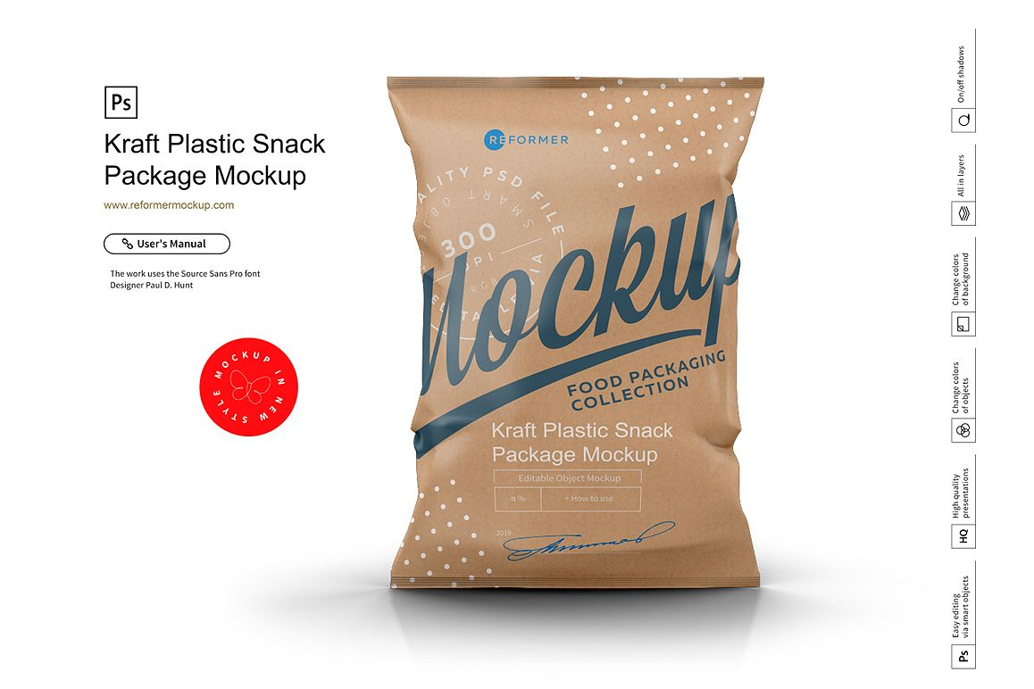 Kraft Plastic Snack Package Mockup example image 1