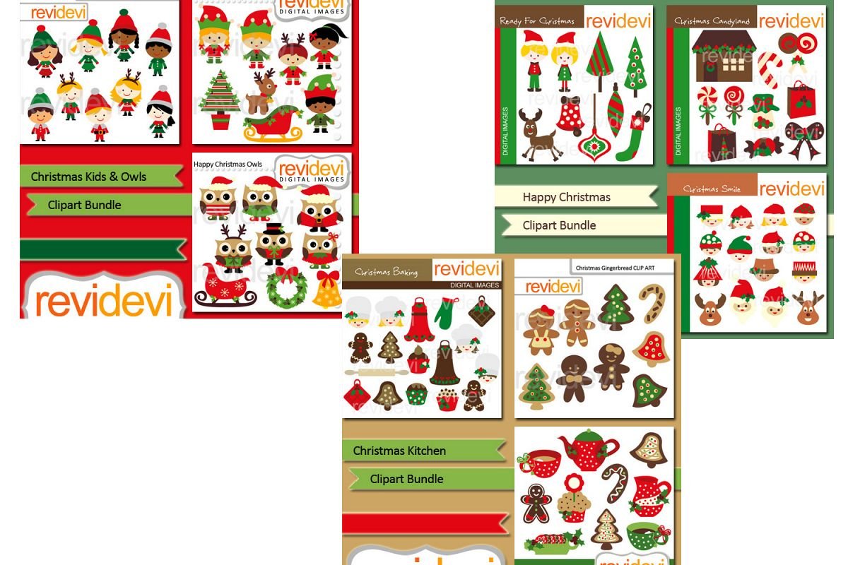 Christmas Candyland Clipart.Christmas Party Clip Art Illustrations Big Bundle
