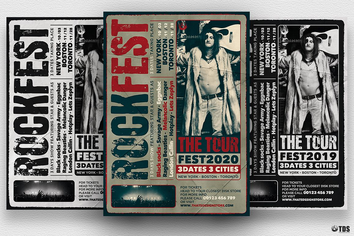 Distressed Rockfest Flyer Template example image 1