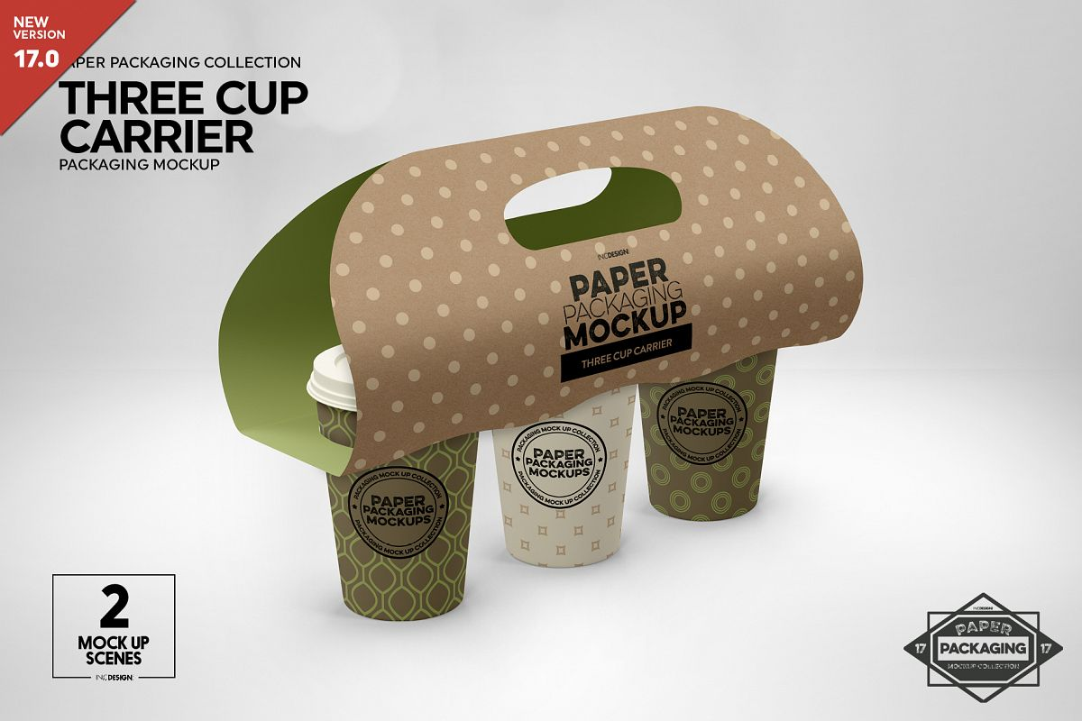 Three Cup Paper Carrier Packaging Mockup example image 1