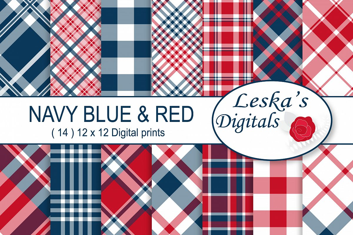 Red White and Blue Plaid Patterns example image 1
