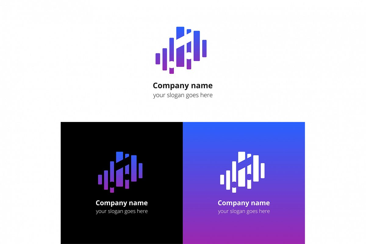 Music note and equalizer beat background flat logo icon vector template. example image 1