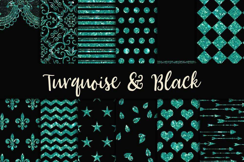 Turquoise Glitter & Black Digital Paper example image 1