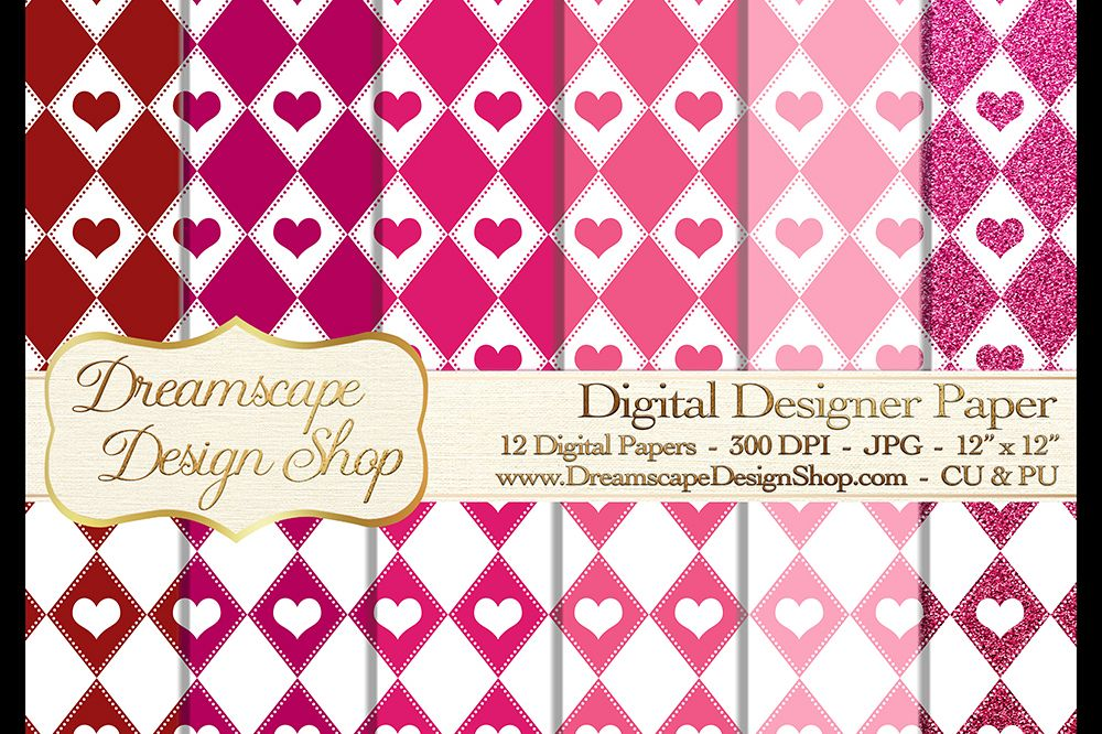 Pink and Red Hearts (Set 5) - Valentine's Day - Digital Paper - 12 JPG Images at 300 DPI - Digital Product Instant Download example image 1