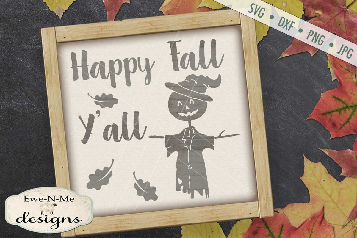 Happy Fall Y'all Scarecrow Leaves SVG DXF Files example image 1