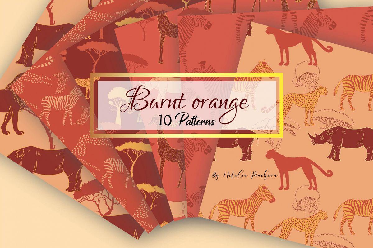 Burnt Orange Digital Paper animal example image 1