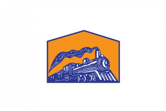 Steam Locomotive Train Coming Crest Retro example image 1