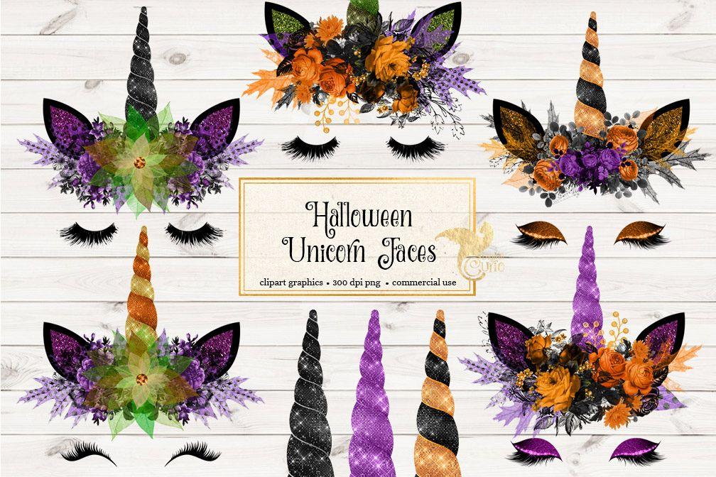 Halloween Unicorn Face Clipart