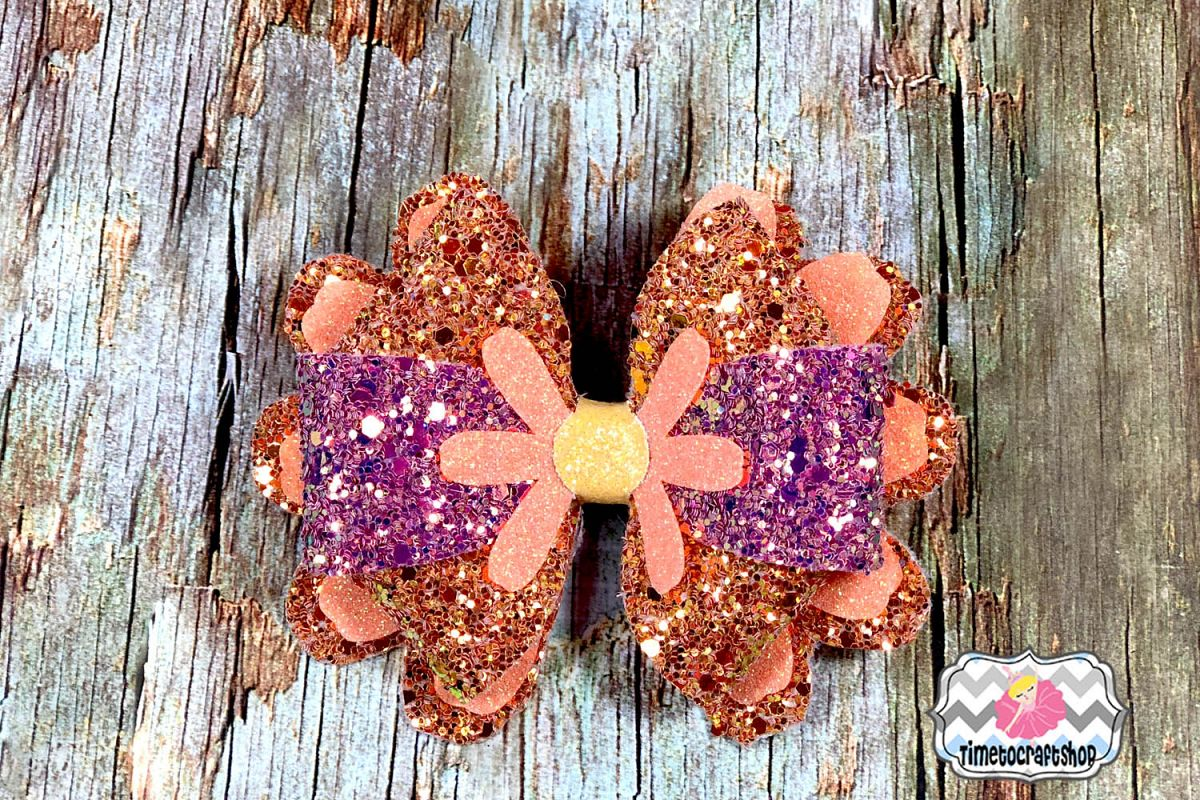 3D Daisy Flower Hair Bow Template SVG, PNG, DXF, PDF, JPEG example image 1