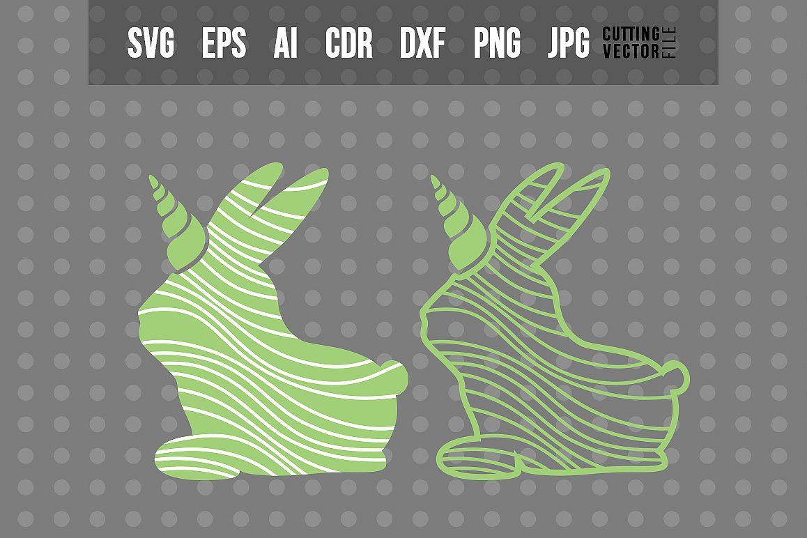 Decorative Bunny Unicorn - SVG example image 1