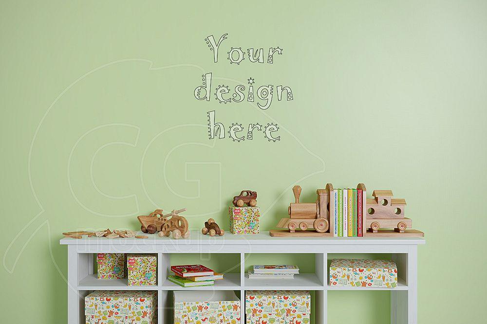Blank wall kids room mockup example image 1