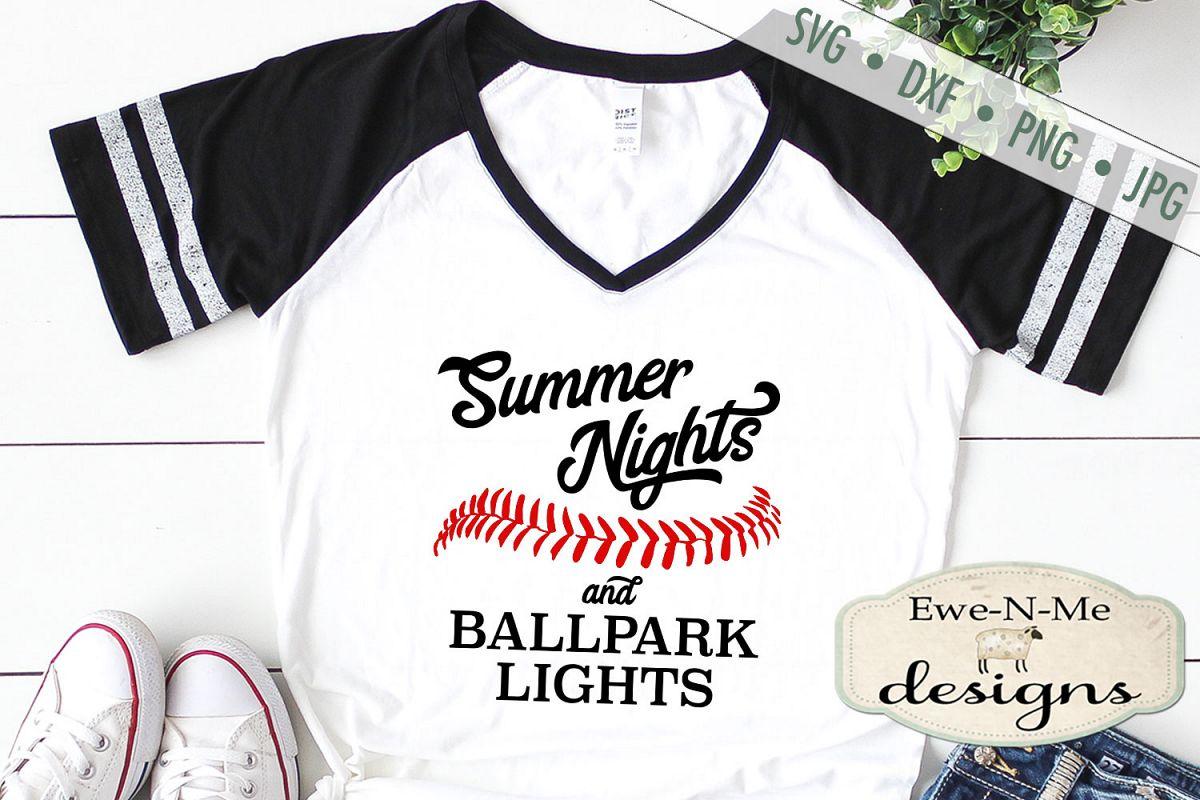 Summer Nights Ballpark Lights Baseball Softball SVG DXF File example image 1