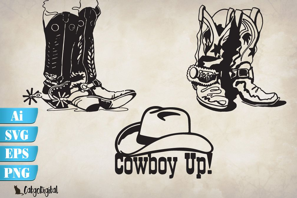 Cowboy Boots and Hat SVG EPS Ai PNG example image 1