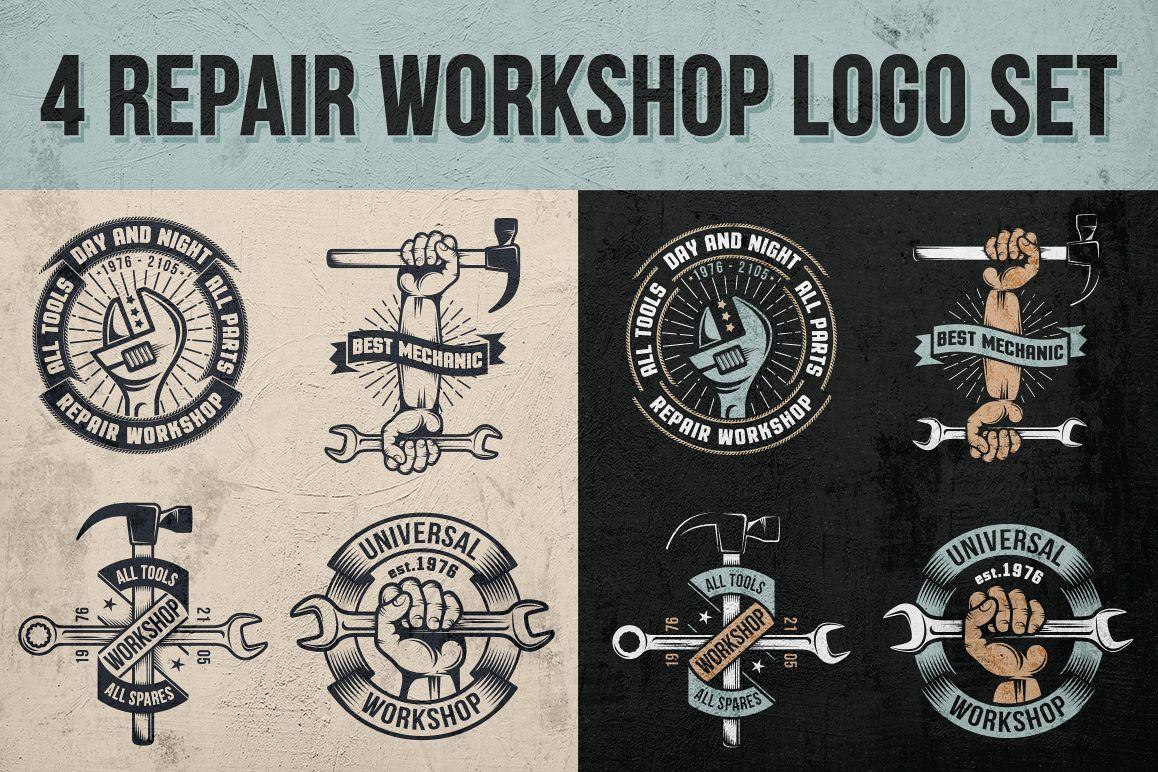 Repair workshop logo set example image 1