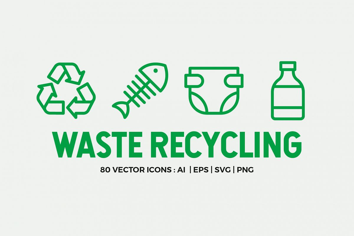 Waste Recycling Line Icons example image 1