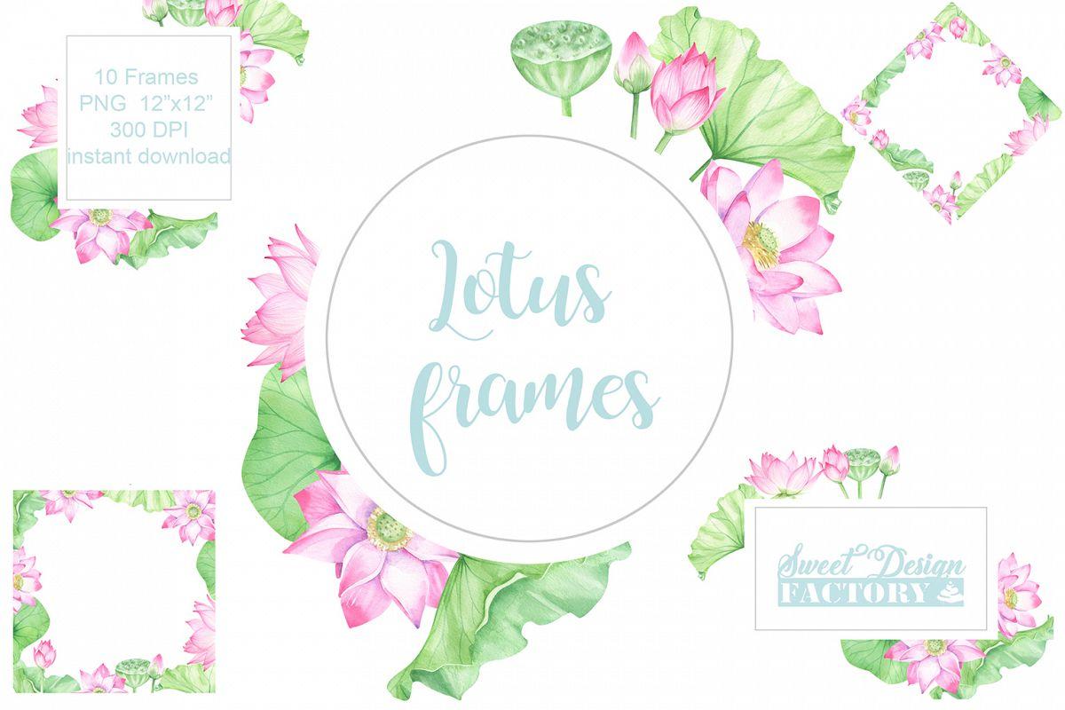 Watercolor Lotus Flowers Pre Made Frames