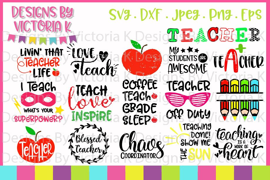 Teacher bundle, Teacher Cutting Files, SVG, DXF, EPS, PNG example image 1