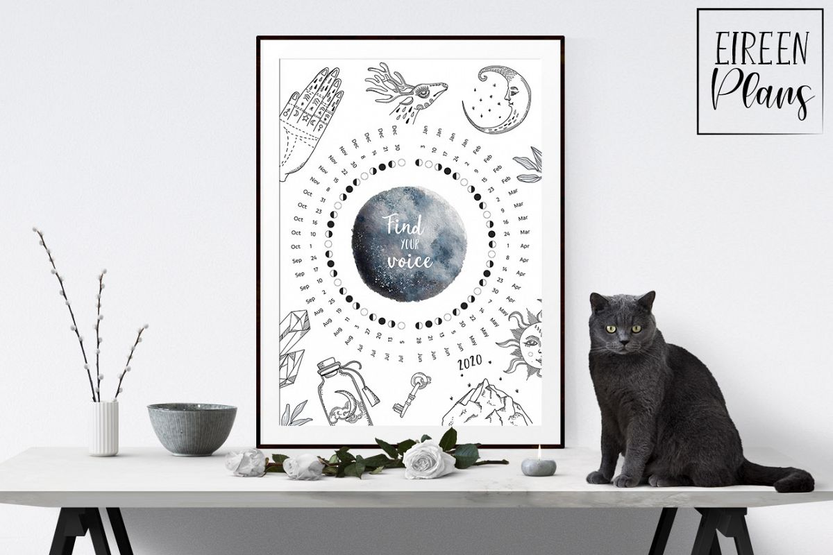 Printable 2020 Moon phases calendar example image 1