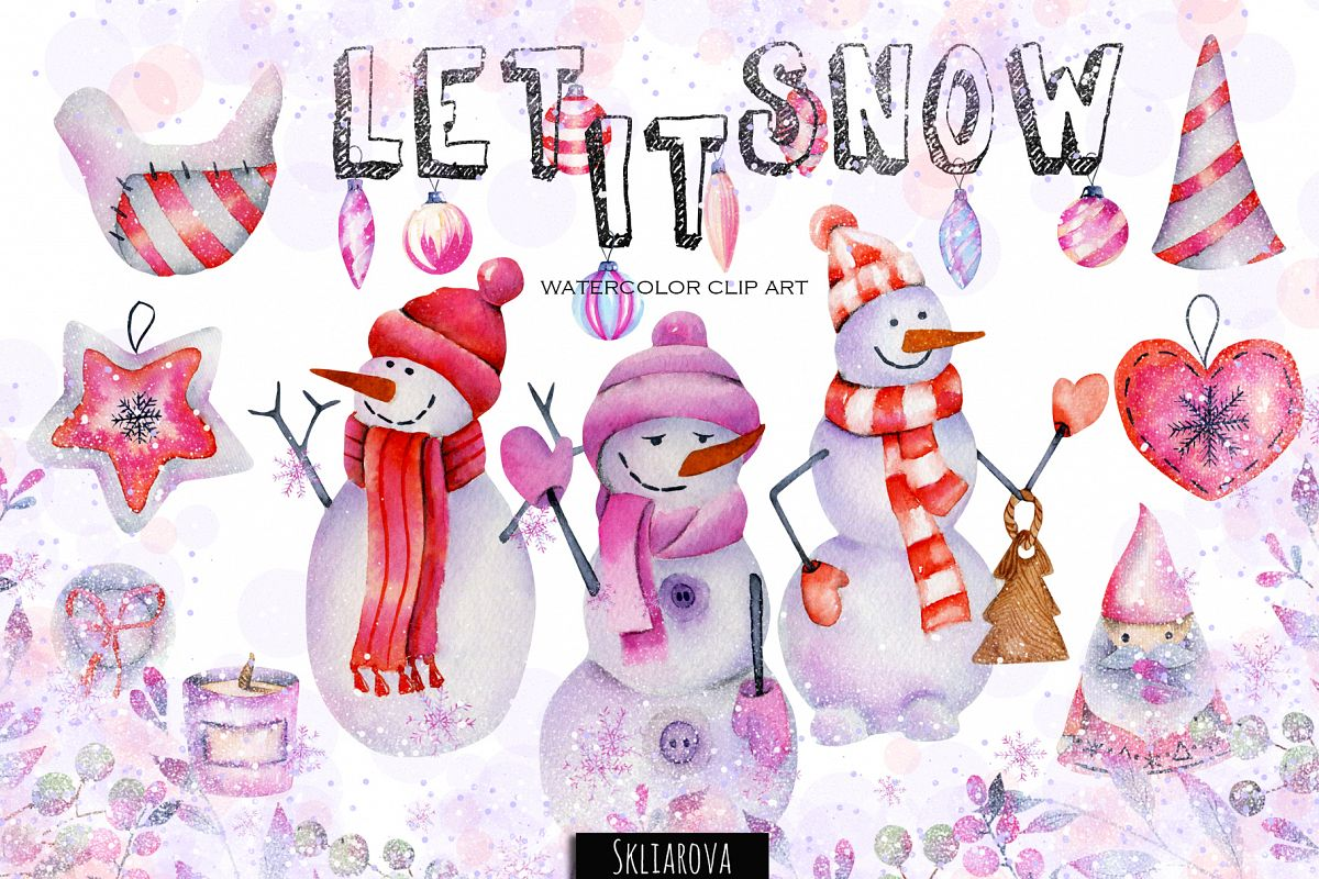 Let it snow. Watercolor Christmas clipart. example image 1