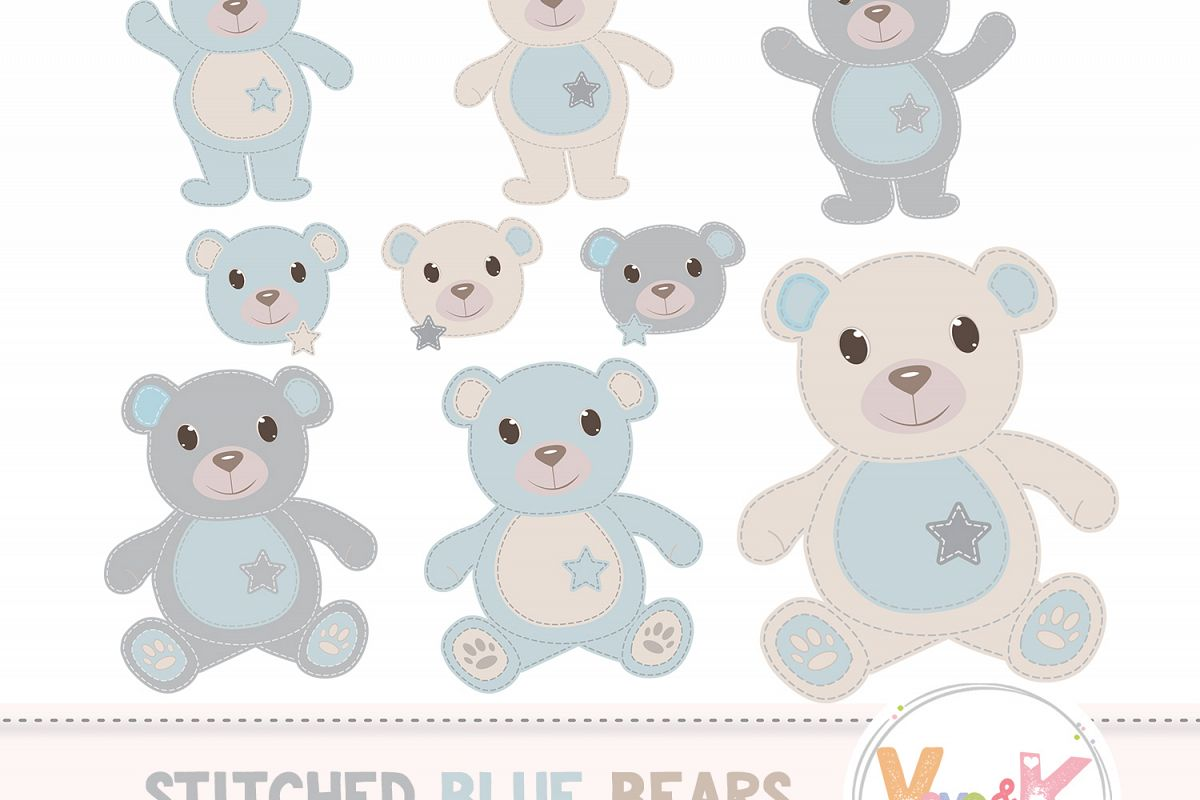 Teddy Bear Clip Art, Stitched Bear Clipart, Digital Clip Art, Blue Teddy Bears, Baby Boy DIY Shower, Baby Pink and Beige example image 1