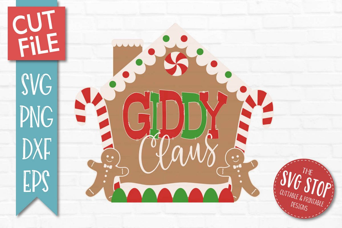 Giddy Claus Gingerbread Christmas SVG, PNG, DXF, EPS example image 1