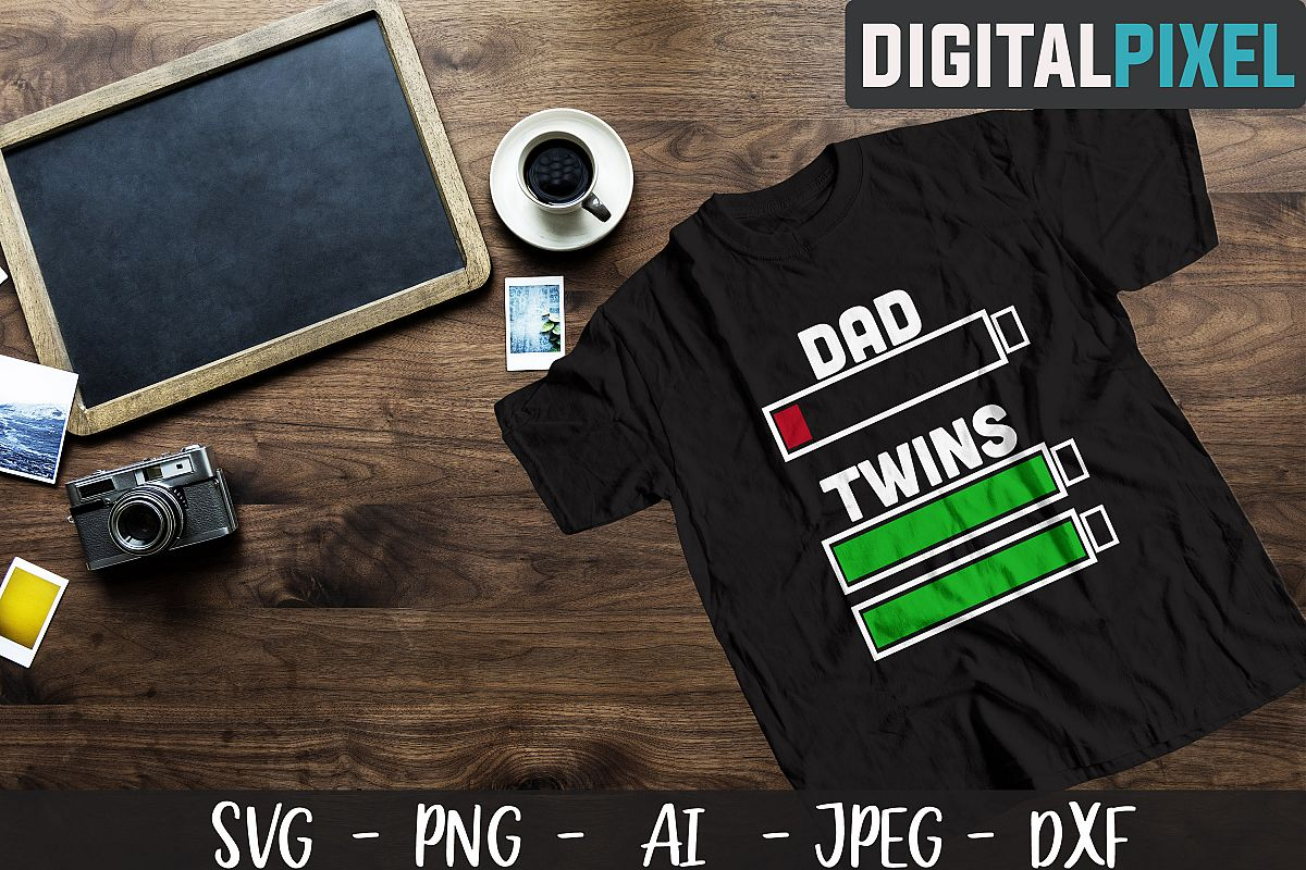 Dad of Twins SVG PNG JPEG DXF Cricut Cut Crafters SVG example image 1