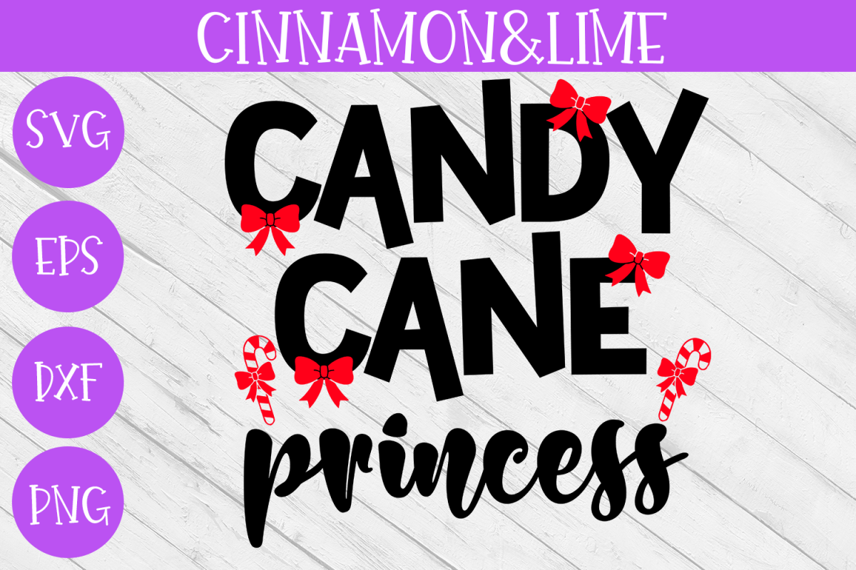 Christmas Svg - Candy Cane Princess Girl Shirt Cut File example image 1