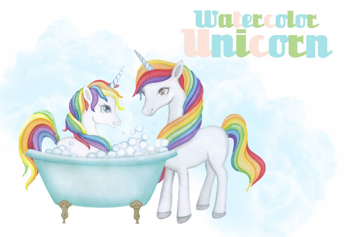 Watercolor Unicorn Clipart Images by Whimseez