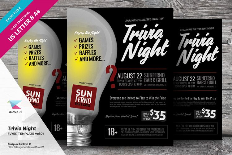 Trivia Night Flyer Template vol.01 example image 1
