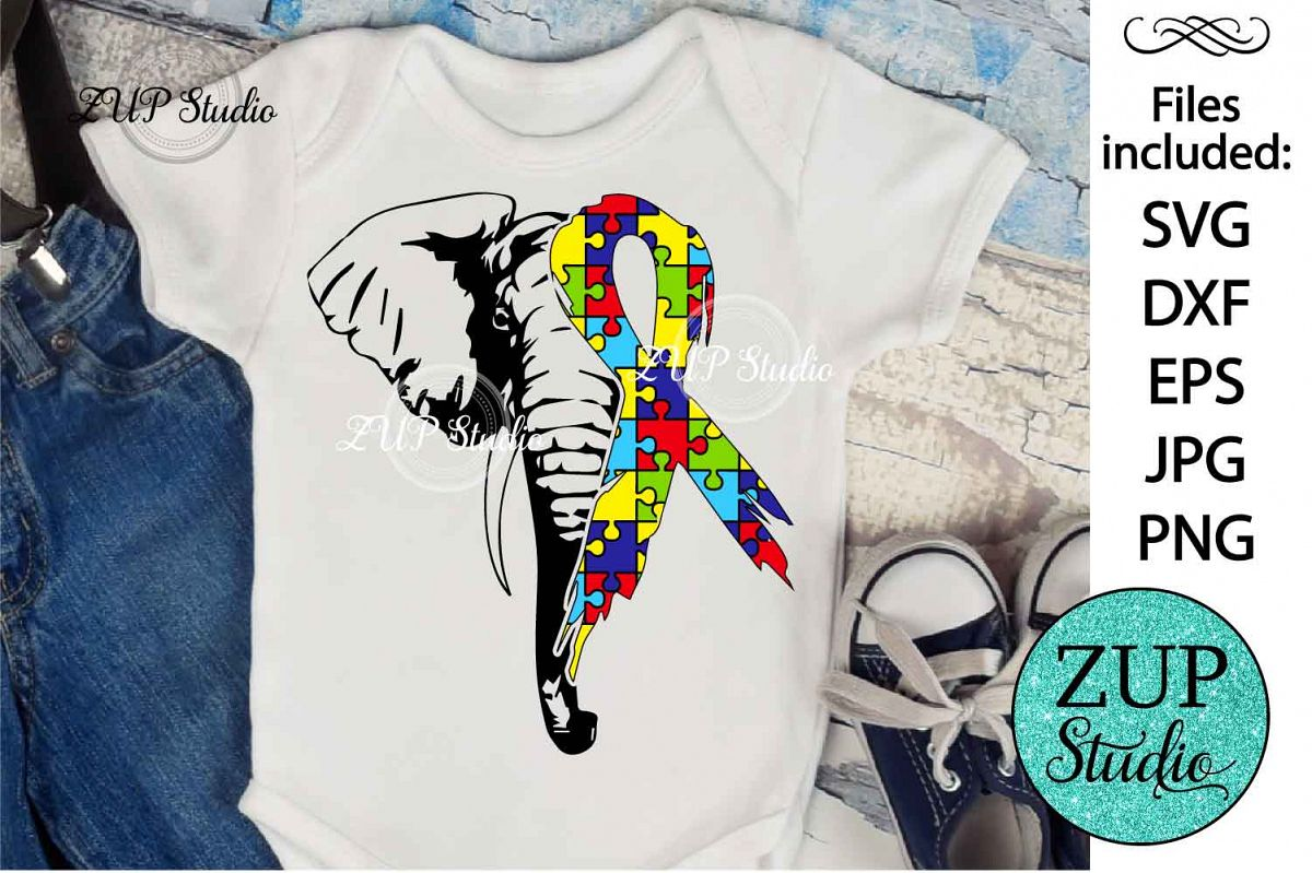 Elephant with Autism Ribbon svg design 467 example image 1