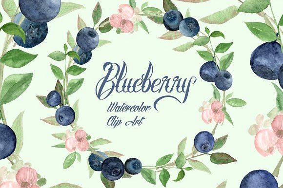 Watercolor Blueberries Clip Art example image 1