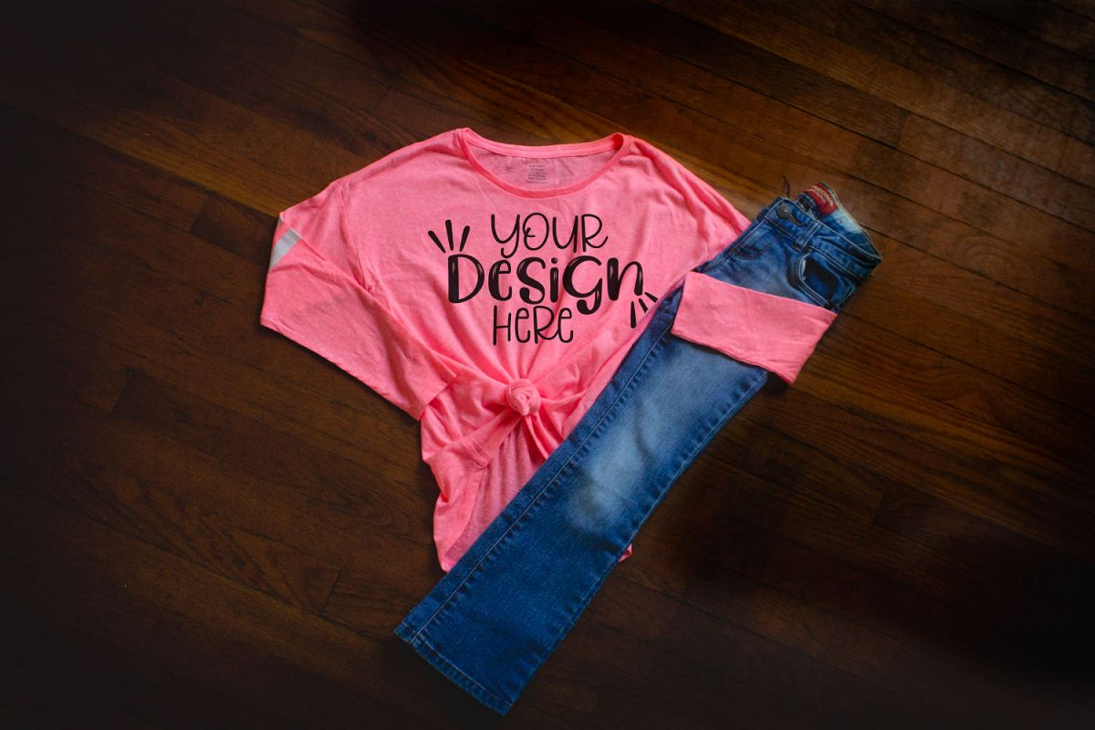 Youth girls Pink shirt with jeans mockup example image 1