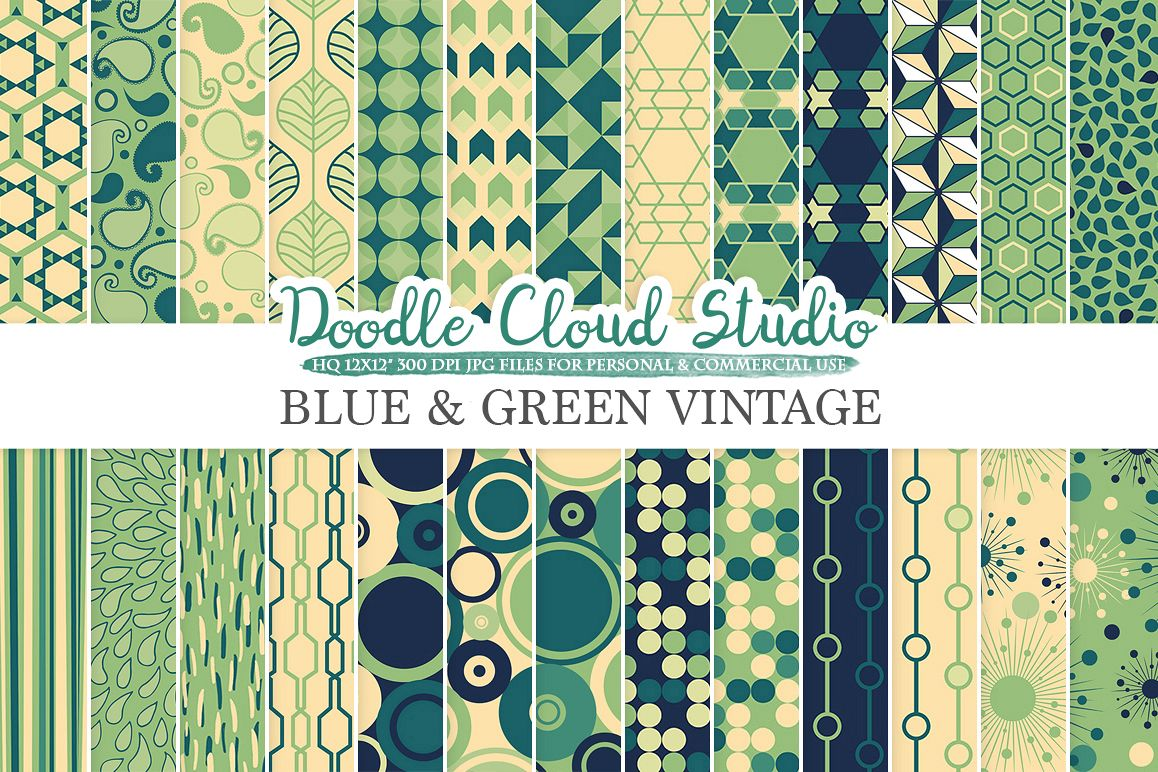 Blue and Green Retro digital paper, Geometric Vintage patterns, Cream digital Cream backgrounds for Personal & Commercial Use example image 1