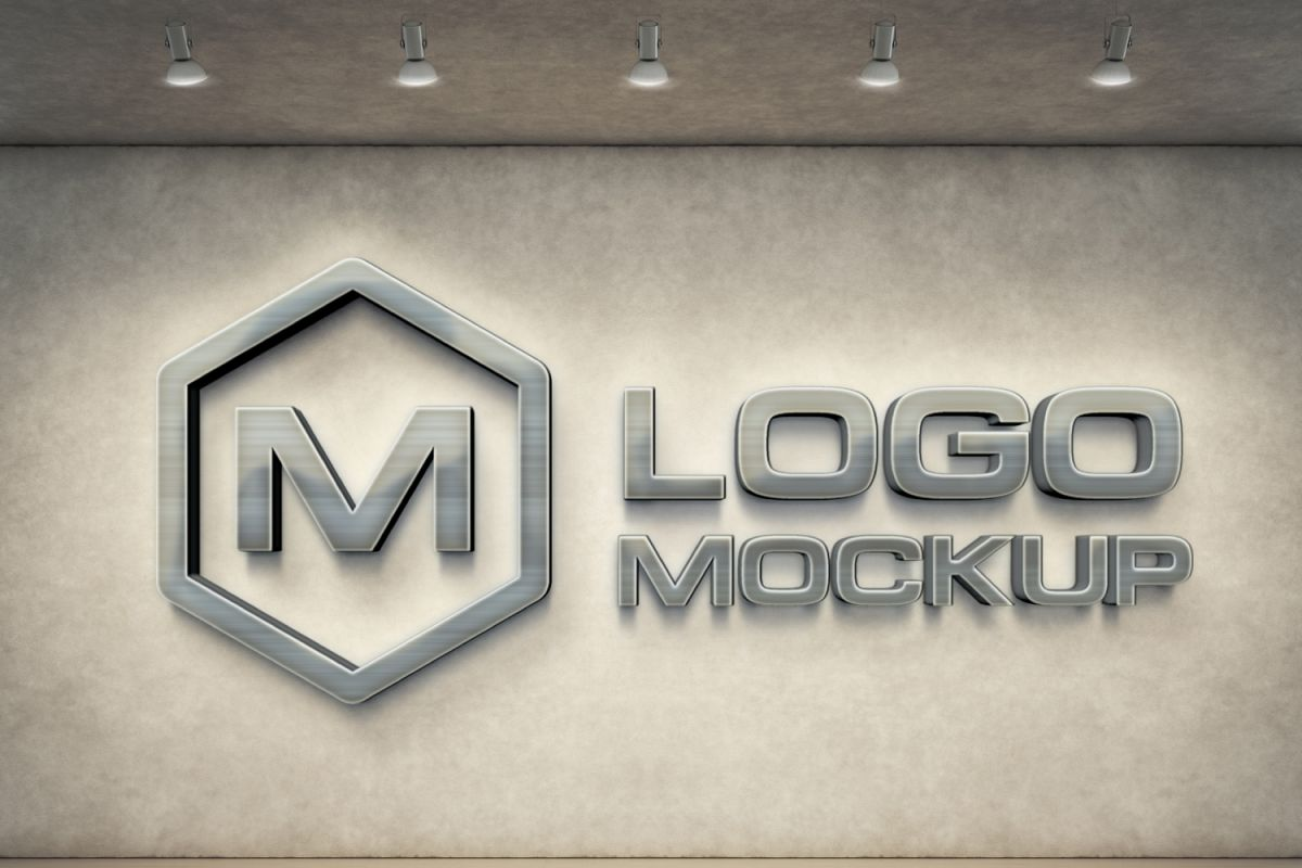 7 logo mockups 3d wall mock up