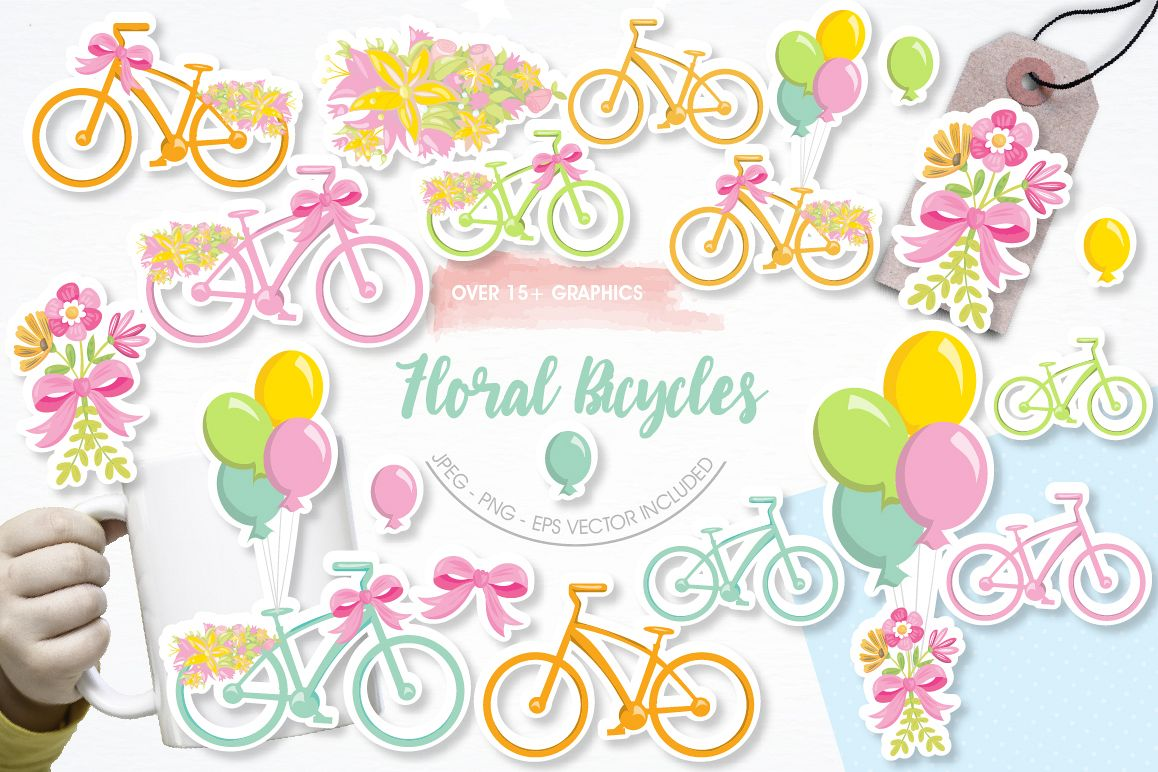 Floral Bicycles graphics and illustrations example image 1