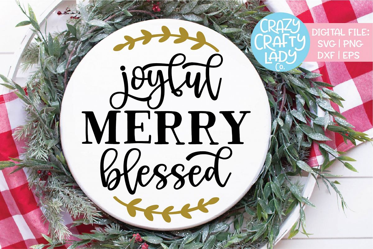 Joyful Merry Blessed Christmas SVG DXF EPS PNG Cut File example image 1