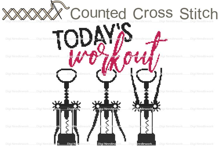 Today's Workout Funny Wine Saying COUNTED Cross Stitch Chart example image 1