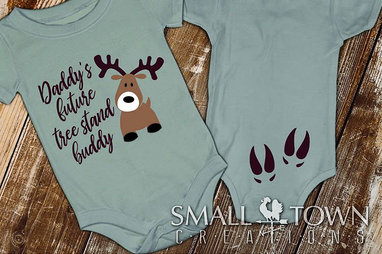 Daddy's tree stand buddy, baby hunter outfit, baby deer, SVG example image 1