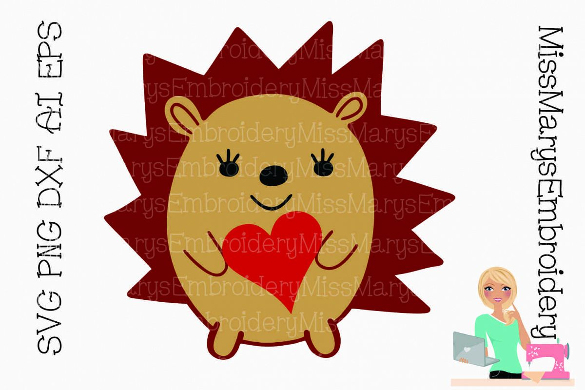 Heart Hedgehog SVG Cutting File PNG DXF AI EPS example image 1