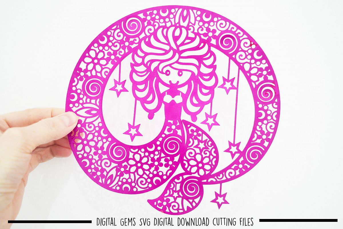 Mermaid paper cut SVG/ DXF / EPS files example image 1
