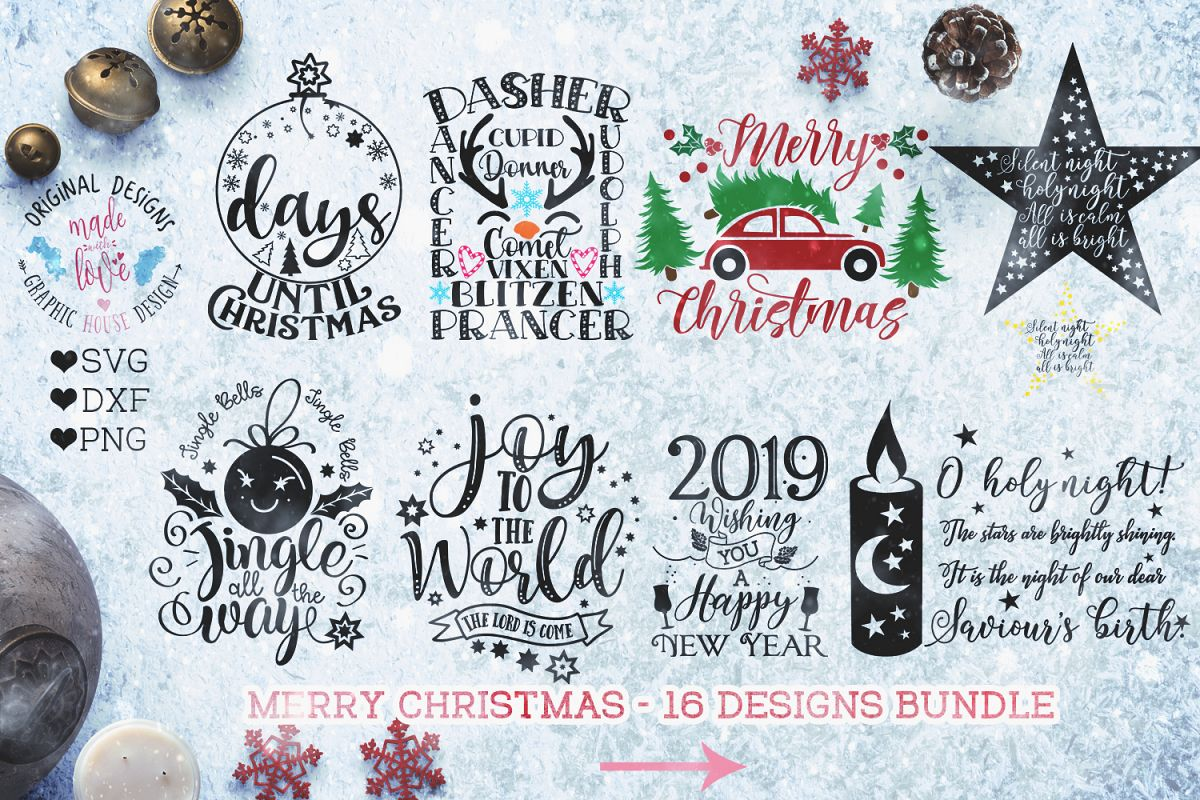 Merry Christmas Cut Files - Christmas Bundle example image 1