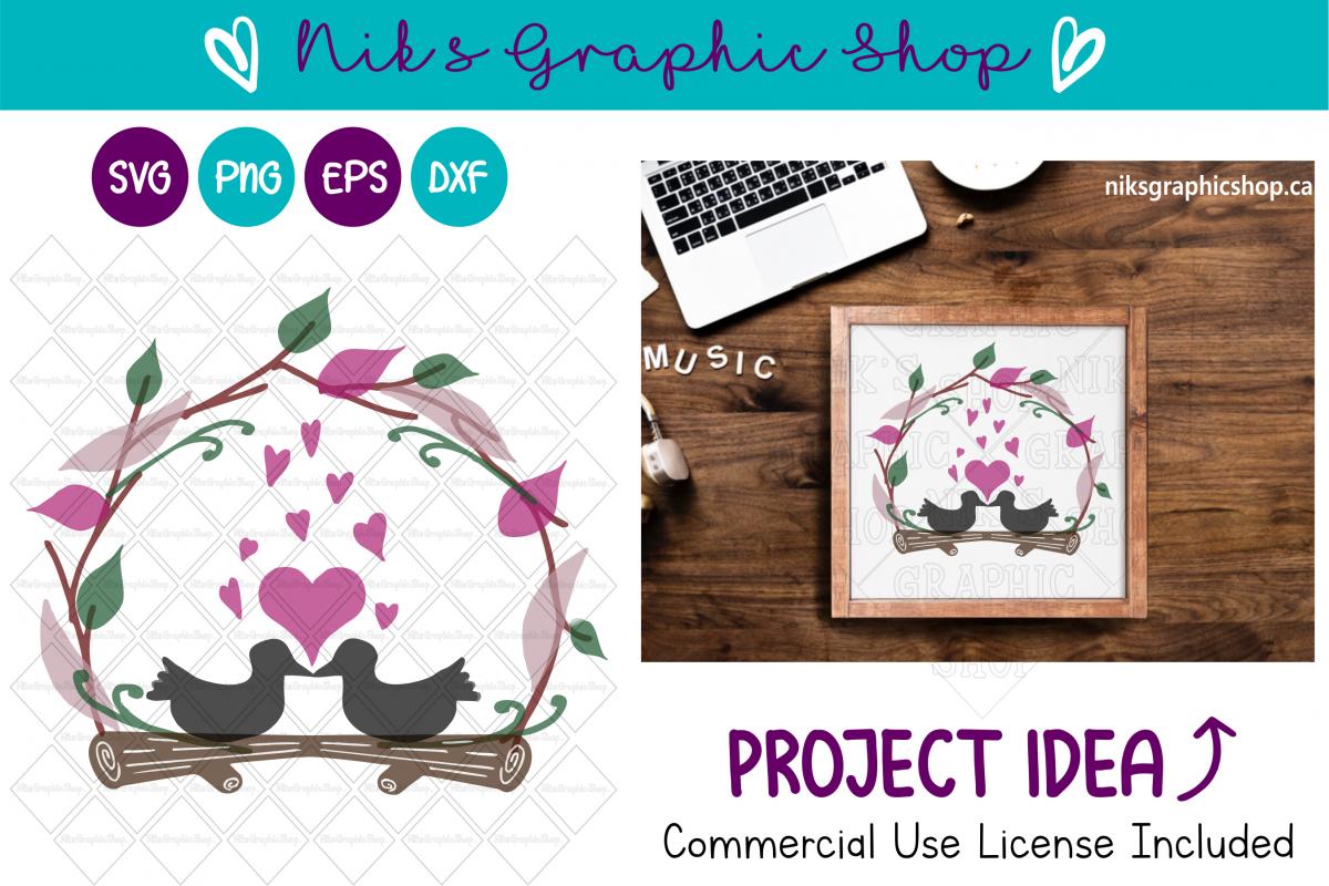 Love Birds SVG, Love birds, Valentines SVG, Wedding SVG example image 1